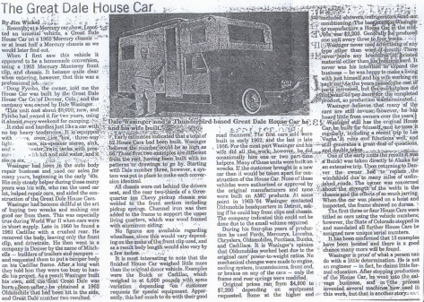 Dale Wasinger in the News - The Great Dale House Car - by Jim Wickel